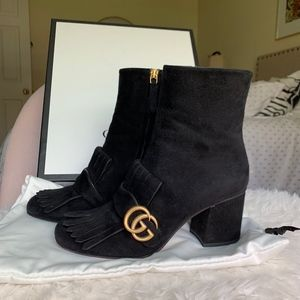 GUCCI GG MARMONT SUEDE BOOTS IN BLACK! SZ 38!